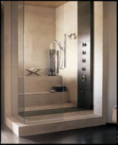 Bathroom - shower + steam room in one. Ash and I want this SO bad! Bathroom Spa, Bathroom Renos, Laundry In Bathroom, Modern Bathroom, Bathroom Ideas, Steam Showers Bathroom, Steam Room Shower, Sauna Steam Room, Master Bath Shower