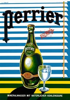 Perrier by Villemot 1968 France - Beautiful Vintage Poster Reproductions. This vertical french culinary / food poster features a green bottle next to a glass of water in front of horizontal blinds. Giclee Advertising Print. Classic Posters. Pschitt