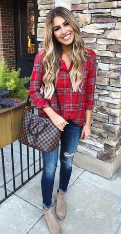 #winter #outfits red and black plaid button-up sport shirt