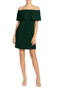 Main Image - Charles Henry Off the Shoulder Woven A-Line Dress
