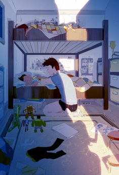 The good stuff. Especially on Sunday nights, probably because we spent two full days together, I tend to go into the kid's room when they are asleep and check on them. Illustration by Pascal Campion Family Illustration, Graphic Design Illustration, Illustration Art, Tom Bagshaw, Pixiv Fantasia, Pascal Campion, Pretty Drawings, Black Artwork, Kid Character
