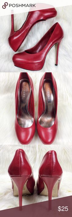 """BAKERS Real Leather Red Platform Stiletto Heels 10 These are stunning! This is a super classy shade of red. Real leather stiletto platform high-heel. """"Melina"""". Total Heel height: 5 1/2"""" Platform height: 1 3/8""""  Gently used -these look almost brand new- see pictures, you have to look really hard to find anything. Small black mark, a few faint indentations (pictured)  Thanks for stopping in, check out my other items! Bakers Shoes Heels"""