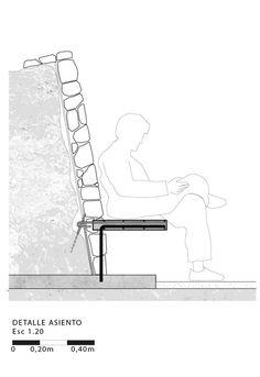 Mirador Asomo al Vacío: un espacio de contemplación hecho de gaviones,Detalle Asiento