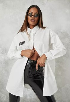 Petite White Poplin Oversized Longline Shirt | Missguided Petite Outfits, Edgy Outfits, Cute Outfits, Fashion Outfits, Oversized White Shirt, Leather Trousers, Long A Line, Missguided, Poplin