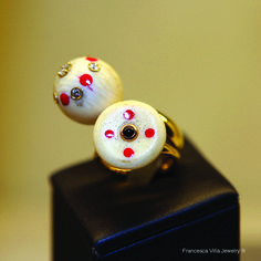 I love My Lucky Day rings with vintage bone beads that I enriched with a touch of red laque and white diamonds