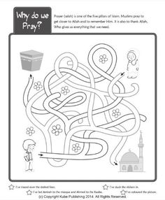 Find out about the Muslim prayer with this fun sticker activity book. Features dot-to-dot drawings, coloring fun, puzzles to solve and over 60 stickers. Introduces children to the way Muslims… Ramadan Activities, Ramadan Crafts, Fun Activities For Kids, Book Activities, Mazes For Kids, Worksheets For Kids, Eid Stickers, Preschool Coloring Pages, Islam For Kids