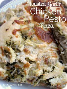 Roasted Garlic Chicken Pesto Pizza on MyRecipeMagic.com