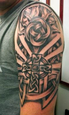 half sleeve cross tattoos | ... RED PARLOUR TATTOO QUEENS NY: AFTER CELTIC CROSS TATTOO RESTORATION