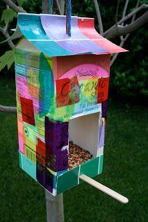 DIY milk carton bird feeder.  Summer Nature Craft!