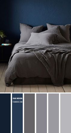 Serene yet stunning, dark but soothing and dramatic. Dark Grey 100% Linen Bedding collection from Secret Linen Store Navy blue and Grey Colour Palette... Grey Bedroom Colors, Dark Gray Bedroom, Navy Blue Bedrooms, Grey Bedroom With Pop Of Color, Bedroom Colour Palette, Bedroom Color Schemes, Dark Grey Bedding, Boys Bedroom Themes, Bedroom Styles