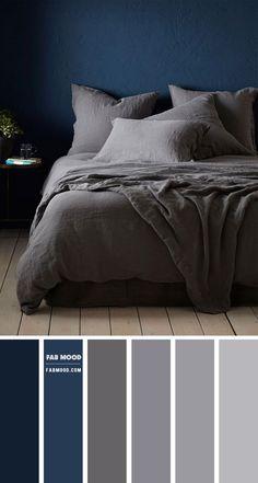 Grey Bedroom Colors, Dark Gray Bedroom, Navy Blue Bedrooms, Grey Bedroom With Pop Of Color, Bedroom Colour Palette, Bedroom Color Schemes, Luxury Bedroom Design, Girl Bedroom Designs, Bedroom Styles