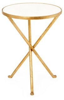 Maddy Side Table, White/Gold - One Kings Lane