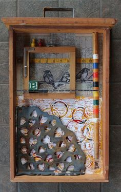 What is the metal heart feature. Very interesting use of the corner for emphasis. Encaustic and Found Objects--Junk Drawer Series--Artist: Kathy Moore Collages, 3d Collage, Mixed Media Collage, Found Object Art, Found Art, Box Art, Art Boxes, Idee Diy, Encaustic Art