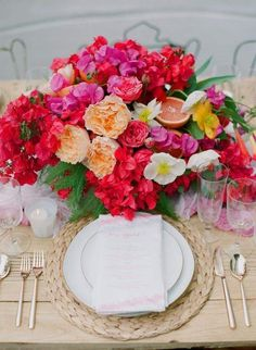 Bold and Beautiful Floral Wedding Ideas by The Vine's Leaf - wedding centerpiece idea; Caroline Tran via Inspired by This