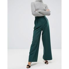 ASOS PETITE The Wide Leg PANTS with Pleat Detail (2.300 RUB) ❤ liked on Polyvore featuring pants, wide-leg pants, tall wide leg pants, petite pants, pleated pants and petite short pants