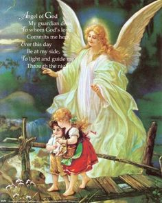 """One of my favourites, famous and classic art print """"Guardian Angel"""" by Heilige Schutzengel Your Guardian Angel, Guardian Angel Images, Angel Prayers, I Believe In Angels, Angels Among Us, Angel Art, Religious Art, Framed Art Prints, Cross Stitch"""