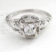 Vintage Filigree Art Nouveau Old European Cut Diamond Solitaire Engagement Anniversary Ring Filigree 14kt White Gold. $699.00, via Etsy.