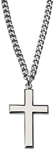 """Men's Rhodium Plated Silver Cross Necklace with 24 Silver Chain in Leather-ette Gift Box"""" - CHECK IT OUT @ http://www.finejewelry4u.com/jew/100545/150720"""
