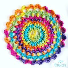 free hippie peace rainbow mandala crochet pattern