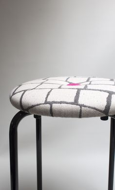 Stool with tile print and a bright pink button www.etsy.com/shop/palsbyognash