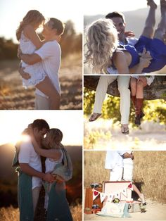 I LOVE the top left photo & the photo of the couple on the tree branch. SUPER cute!! :)