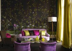 salon comedor moderno decorado con papel pintado 7