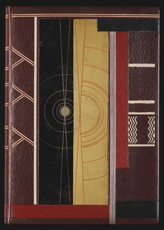 François Louis Schmied, upper cover of binding decorated with vertical panels, executed by Georges Cretté with panel lacquered by Jean Dunand