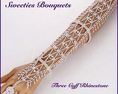 Women/Statement/Crystal Rhinestone Arm Hand Chain/ Cuff/ Ring Copper Bracelet Wedding Bridal Celebrity Belly Dancer/ Pageant Jewelry