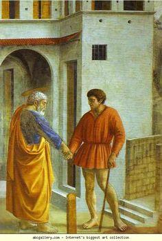 Masaccio. Rendering of the Tribute Money (detail). 1425. Fresco. Brancacci Chapel, Santa Maria del Carmine, Florence, Italy.
