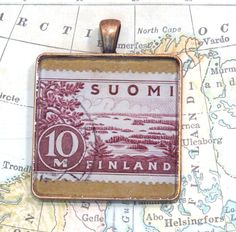 Vintage Finland Postage Stamp Necklace Pendant Key Ring by 12be on Etsy