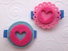 Hearts and Circles Felt Hair Clip Set for Baby or Girl in Pink and Blue by PunkyPunkinCreations, $3.00