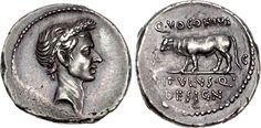 Ancient Roman Imperatorial Silver Denarius coin of Julius Caesar, 40 BC.