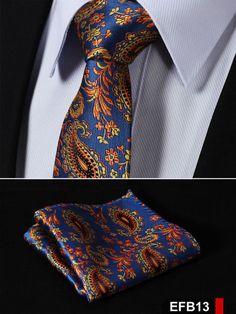 NeckTie - Blue Orange Paisley 100%Silk Slim Necktie & Handkerchief Pocket Square Suit Set