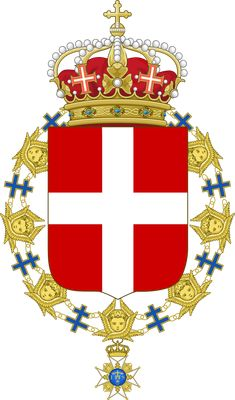 Coat of Arms of Victor Emmanuel III of Italy (Order of the Seraphim).svg