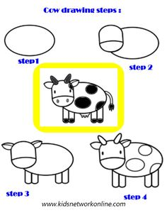kids can learn drawing Cow with this easy break up of shapes and lines guidlines.Let them practice their drawing skills and color it as per their wish Cow Drawing Easy, Very Easy Drawing, Learn Drawing, Drawing Practice, Drawing Skills, Drawing For Kids, Learn To Draw, Drawing Activities, Craft Activities For Kids