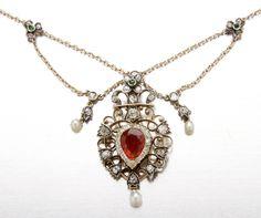 145: Fine Victorian orange fire opal and diamond necklace