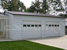 This metal garage makes a great addition to your existing home. It features two customer installed side-entry garage doors with windows. It's clean looking and will add value to any property!