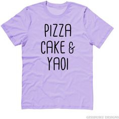 Pizza Cake YAOI T-shirt ($4) ❤ liked on Polyvore featuring tops, t-shirts, cotton tees, cotton t shirts, purple t shirt, purple tee and purple top
