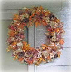 XXL+Deco+Mesh+Fall+Thanksgiving+Wreath+by+WHATAWREATH+on+Etsy,+$80.00