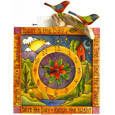 View all Sticks clocks at http://www.sweetheartgallery.com/collections/sticks-clocks-hand-painted-artistic-clocks-with-inspirational-words-phrases