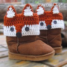 Crochet Fox Kids Boot Cuffs Pattern