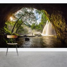"Waterfall Cave 8' x 144"" 3 Piece Wall Mural Set"