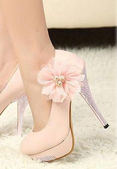 Women's Fashion Flower Shoes Rhinestone High Heels In PINK