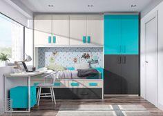 Habitación infantil con armario cama nido y escritorio.