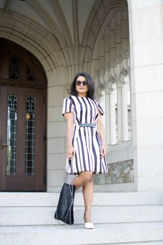 Topshop-A-line-dress-verticalstripes-unode50-stella-mccartneybag-petite-ootd-what-to-wear-to-work, most pinned photo, blogger neha gandhi, boston college