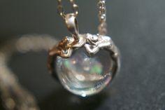 Silver Mermaid Pendant Necklace with Glass by LobsterIslandBeadery