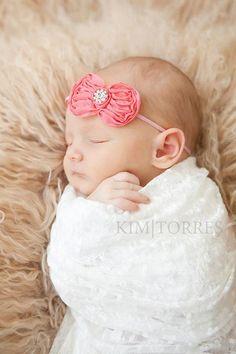 Bitty Bow with Rhinestone Headband - MANY colors - Pink/Coral/Black/Ivory - Baby girl / NEwborn headband - Photography Prop