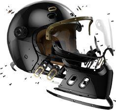 Biker Helmets, Custom Motorcycle Helmets, Motorcycle Outfit, Custom Motorcycles, Cars And Motorcycles, Bmw Nine T Scrambler, Kustom Kulture, Bikers, Football Helmets