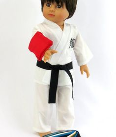 Karate Outfit - clothes for American Girl® and other 18 inch dolls - sportswear, kick pad, belts, martial arts