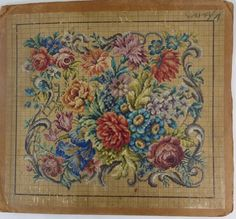 Antique Vintage Berlin Woolwork Chart Hand Painted Tapestry Embroidery Wool AA | eBay